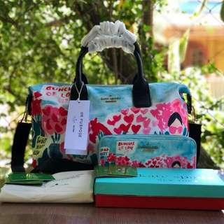 FREESHIP Kate Spade Lyla Bag and WALLET SET satchel handbag crossbody sling-bunch of love print