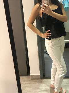 Elegant Black Summer top x white tight jeans