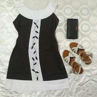 SALE! Brown and White Mini Dress