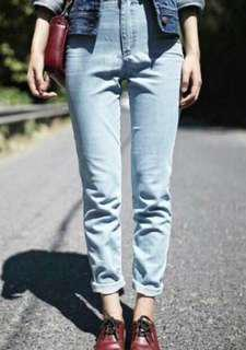Plain Boyfriend Jeans Light Blue 27