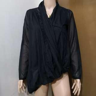 Atsuro Tayama Black Drape Sheer Blouse with Built in Black Inner Sleeveless Top