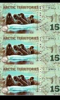 2011年 北極 15元 3連體 膠鈔 全新直版