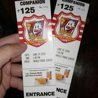 2 Kiddie Crew Grand Reunion Companion Tickets