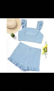 Ruffles light denim set top + bottom