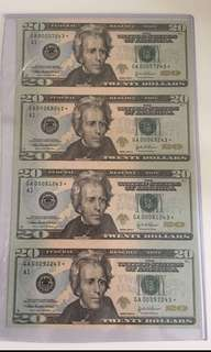 US 2004 $20 uncut 4in1 star bank note UNC
