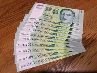 10 identical $5 Singapore Banknote