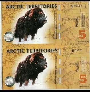 2011年 北極 5元 2連體 膠鈔 全新直版