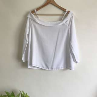 White Off Shoulder Top with Straps