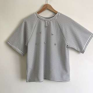 Korean Striped Top with Embellishments