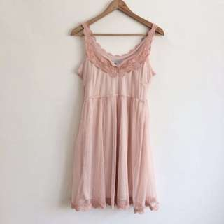 Coral Light Pink Organza Tulle Dress