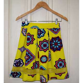Bright Yellow Patterned Skirt