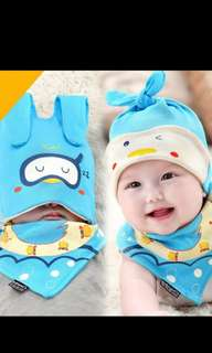 Baby bib with head cover set