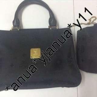 (二手品) 真品 MCM Black Handbag 連化妝袋 外表新淨 返工 行街 可用
