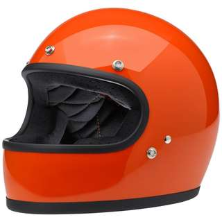 Biltwell Gringo SIZE MEDIUM ONLY Motorcycle Motorbike Cafe Racer Classic Full Face Helmet Gloss Hazard Orange