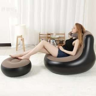 MODERN SIMPLIFIED INFLATABLE SOFA FOLDABLE (BLACK AND GREY) 45CM X 35CM X 15CM