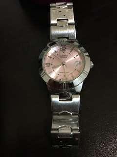 Casio粉紅色不銹鋼錶 真品