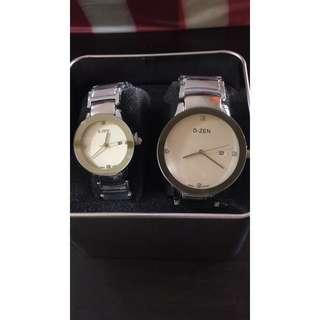 D zen silver couple watch