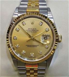 Preloved Rolex 16233 Gents Champagne Diamonds Index Dial Automatic 18K/SS 36mm Full Set Year 2002