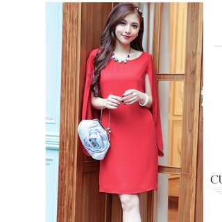 斗篷洋裝 披肩洋裝 紅色短禮服 喜宴禮服 孕婦洋裝