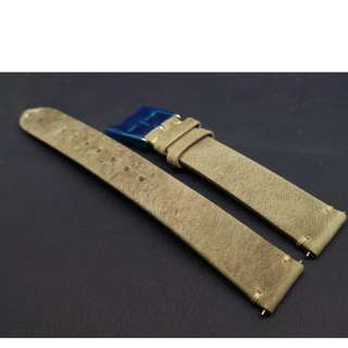 18mm錶帶 2.3mm簿 100% 牛皮帶 合用: ROLEX TUDOR IWC OMEGA (ref:1816 青灰)