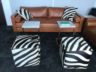 Set of Cushions, sofa, tables