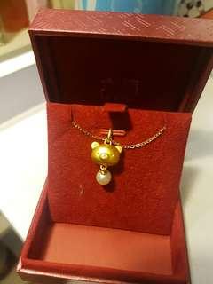 六福足金淡水珍珠鬆弛熊 吊墜 頸鏈鍊(不包頸鏈)rilakkuma k gold pendant