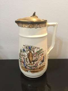 Vintage Pewter lidded Porcelain Pitcher imported from UK