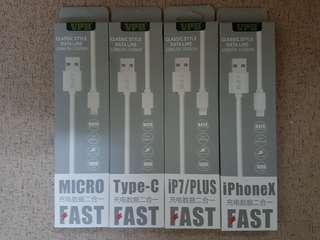 手機充電/傳輸線(全部型號:MicroUSB, Type C, iPhone 5/6/7/8/X