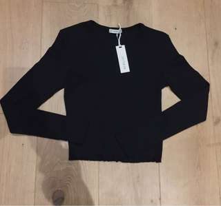 Black Long Sleeve Ruffle Detail Top
