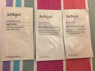 (New) Jurlique purely white herbal recovery night cream essence sample x3 護膚品晚霜精華素試用裝
