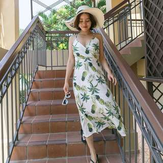 [OH_JUMP] 優雅復古交叉綁帶露背吊帶印花度假海邊連身裙