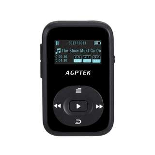 796. AGPTEK A26 8GB Bluetooth MP3 Player, Sports Clip Hi-Fi Sound Music Player with FM Radio, 1.1 Inch OLED Screen, Sweatproof Silicone Case, Support up to 64GB, Black