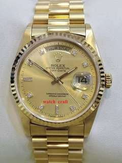 Preloved Rolex 18238 Day Date President Champagne Dial wt. Diamond Index Automatic 18K Yellow Gold with Certificate
