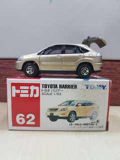 Takara Tomy Tomica #062 Regular Box Toyota Harrier Scale 1/63 Rare Discontinued