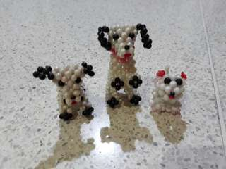 set of 3 vintage dogs poodles hand crafted