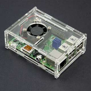 Acrylic Case for Raspberry Pi 3 Model B + Aluminum Heatsink + Pi Fan with power cord