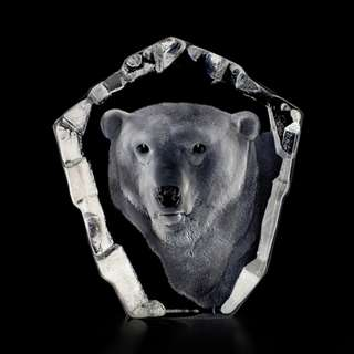北極熊水晶擺設 Mats Jonasson Crystal Polar Bear Head
