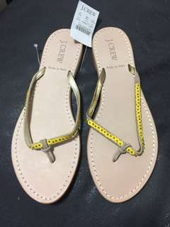 Jcrew leather flip flops made in Italy size US 8