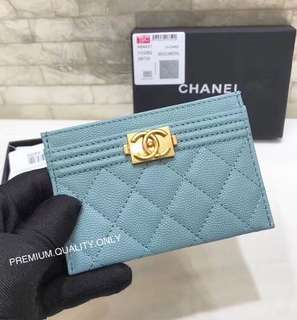 Chanel boy Card Holder - blue