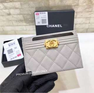 Chanel Boy Card Case - grey