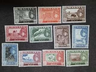 Malaysia Malaya 1957 Pahang 1st Scenes Complete Set  - 11v MLH Stamps