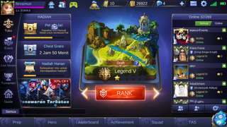Akun Mobile Legend tier Legend