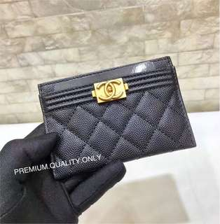 Boutique Quality Chanel Boy Card Holder- black