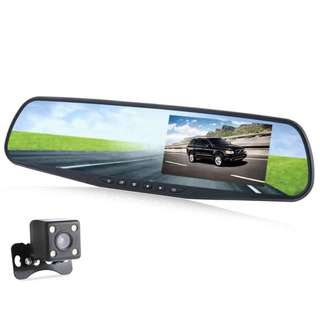 4.3 INCH DUAL LENS CAR DVR REAR-VIEW MIRROR FULL HD 1080P VEHICLE TRAVELING DATA RECORDER 30.50 x 8.00 x 1.50 cm