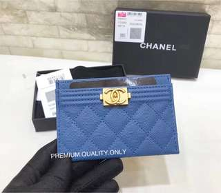 Chanel Boy Card Holder- deep blue