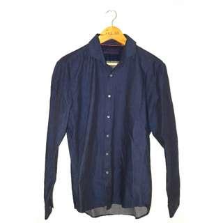 Executive  navy polka dot shirt