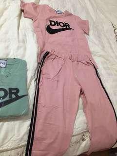 Short sleeve long pants (pink & mint)