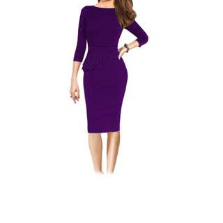 THREE QUARTER SLEEVE PURE COLOR PEPLUM SHEATH DRESS FOR LADIES (PURPLE M/L/XL) M