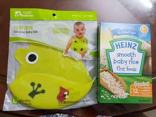 Silicone Bib & Heinz Baby Cereal