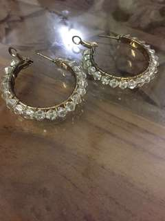 (BN) Promotion for this week-White Crystals Hoop Style Earrings